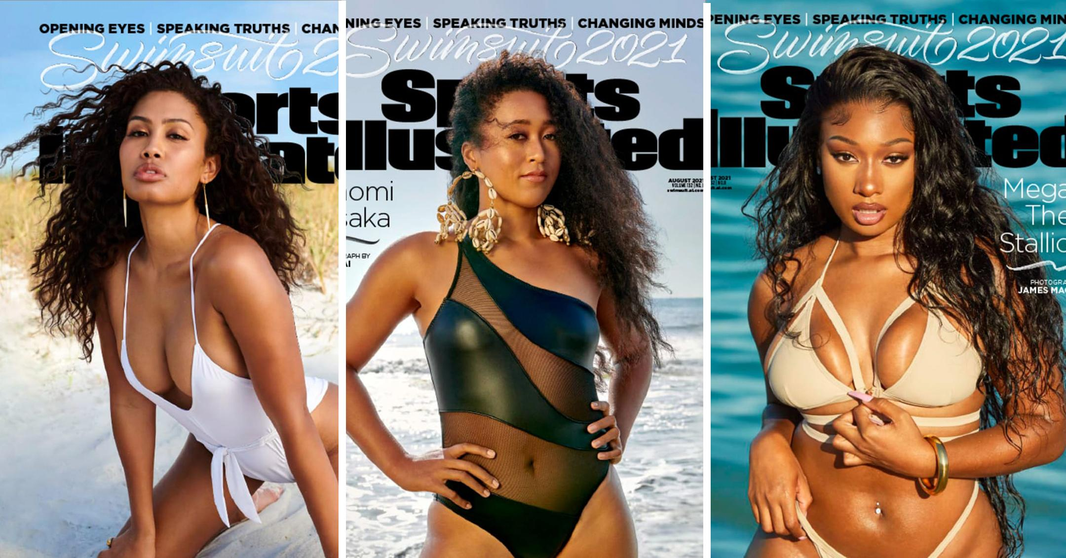 lenya bloom naomi osaka megan thee stallion make history sports illustrated swimsuit covers pp