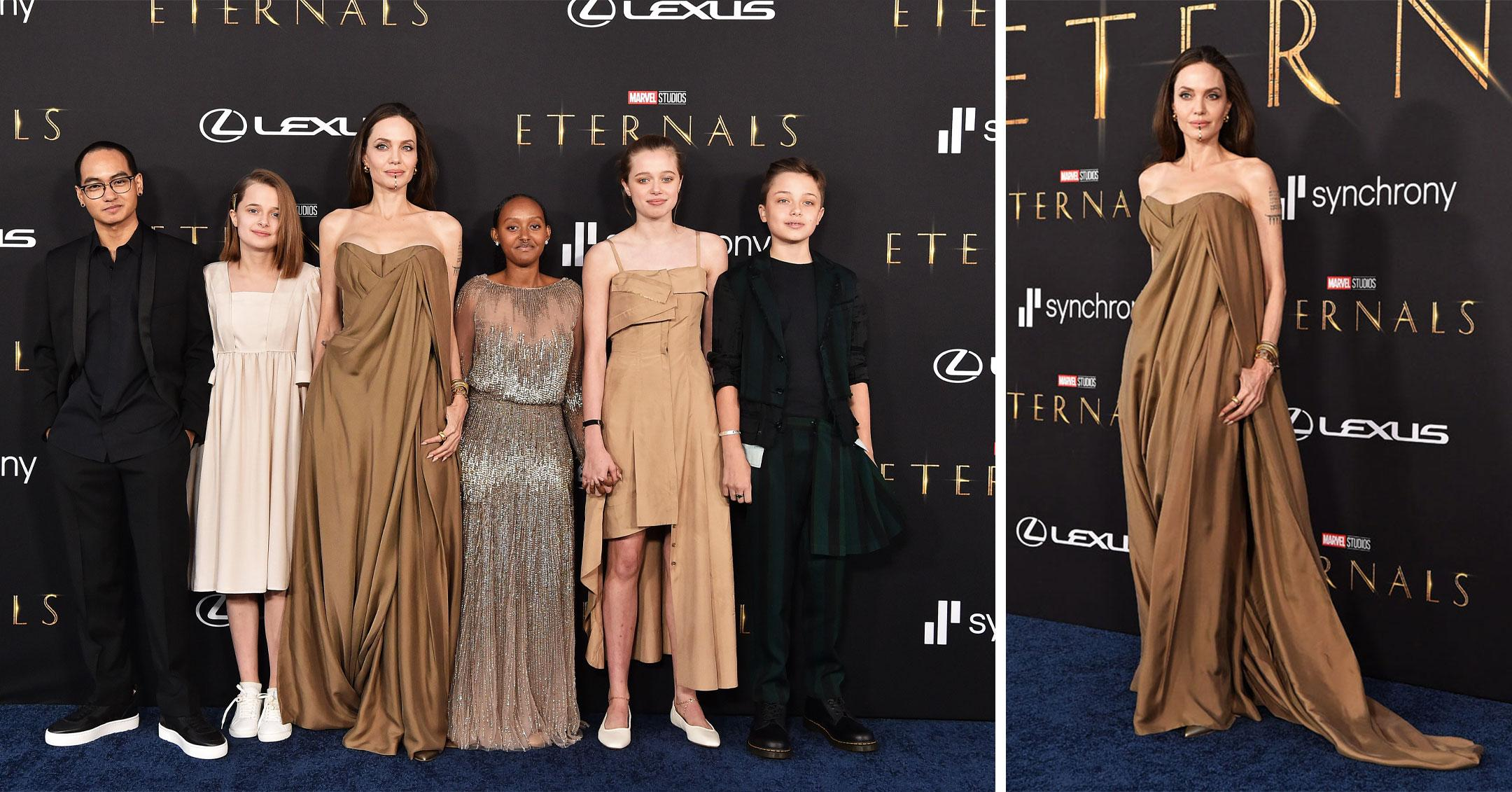 angelina jolie with her kids at premiere of the eternals pp