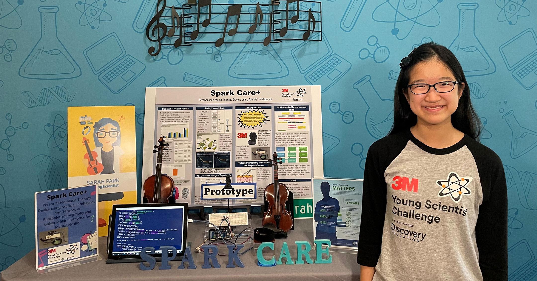 young scientist challenge winner sarah park innovation sparkcare help people mental health pp