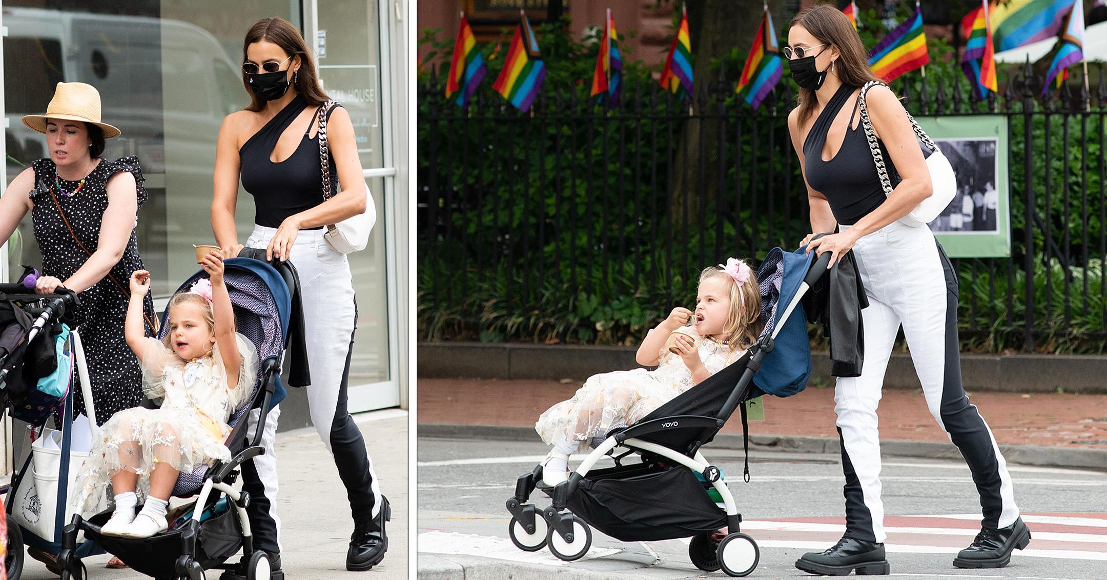 irina shayk takes daughter lea for walk in nyc