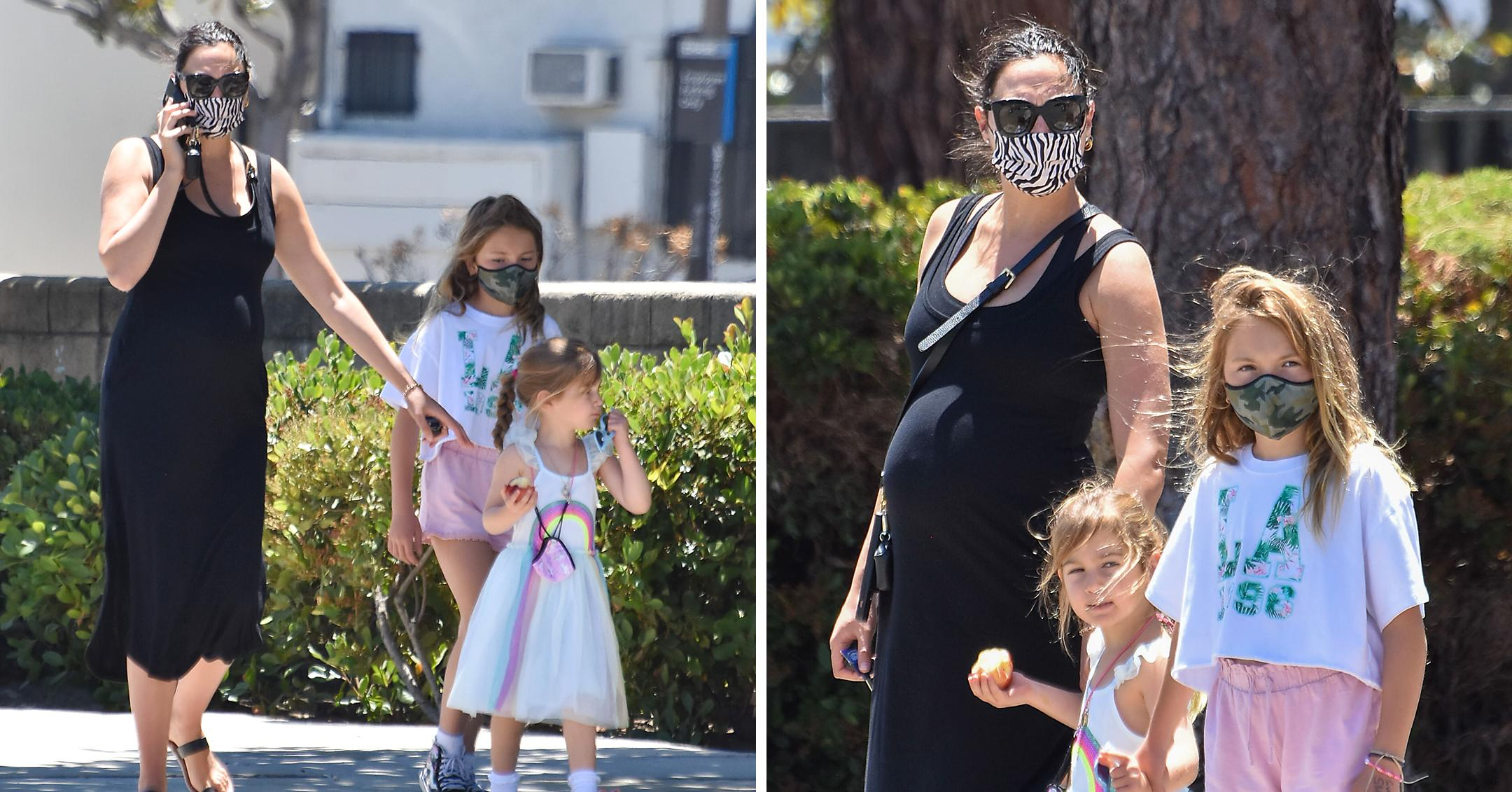 pregnant gal gadot seen out with her daughters