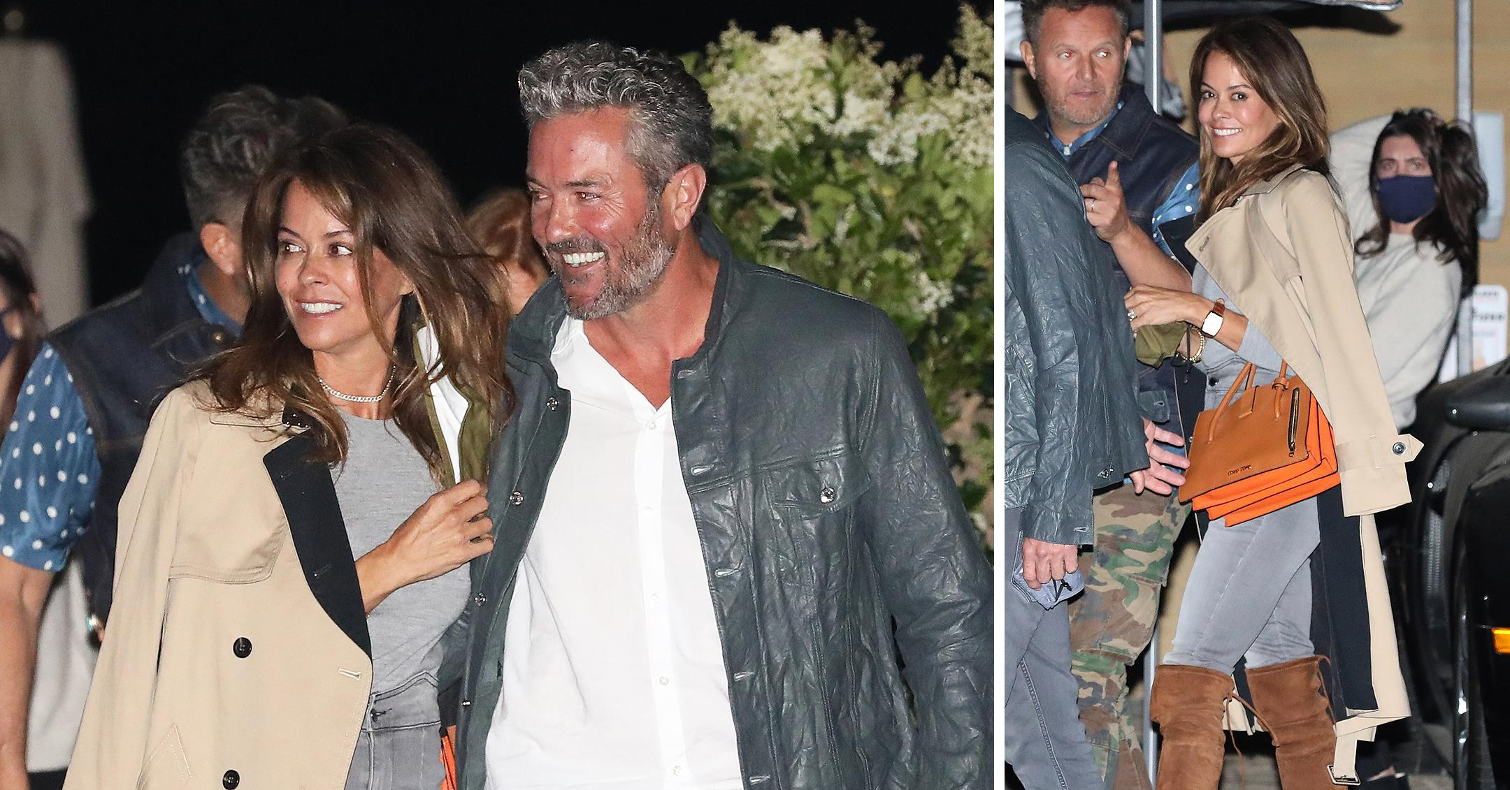 brooke burke and scott rigsby are all smiles as they leave nobu malibu after having dinner