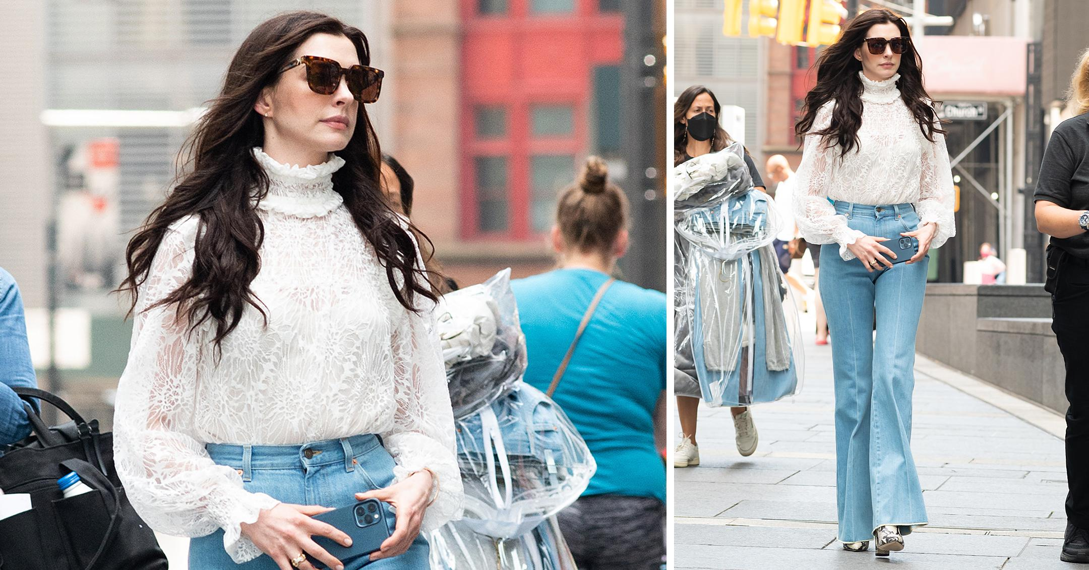 anne hathaway heads to the movie set of we crash in nyc