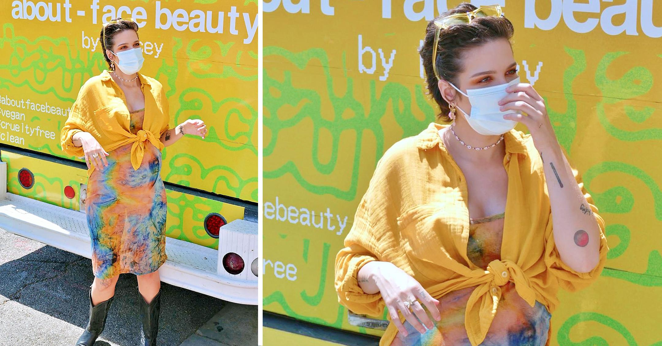 pregnant halsey greets fans at her about face beauty pop up