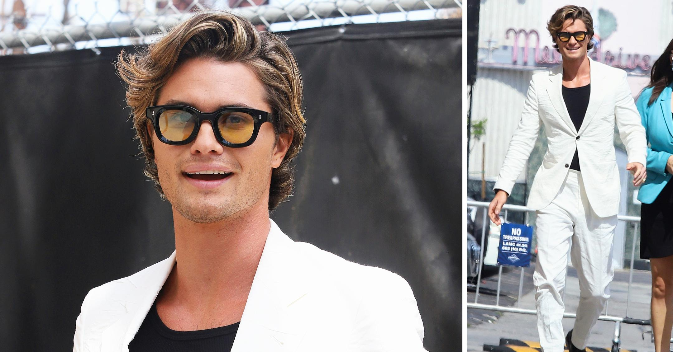 chase stokes arriving at jimmy kimmel live white suit