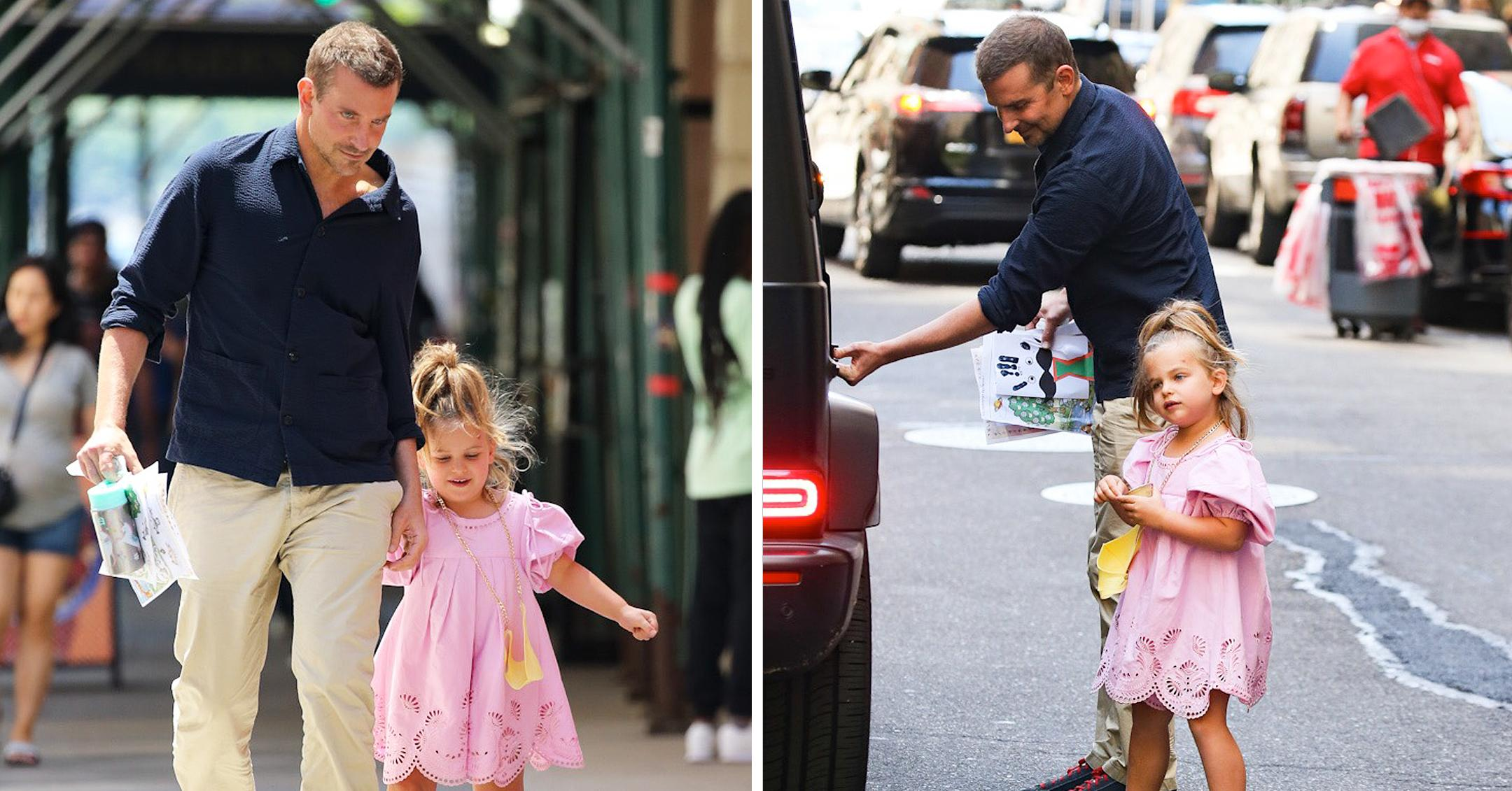 bradley cooper held hands with his daughter lea de seine while out in new york city mh