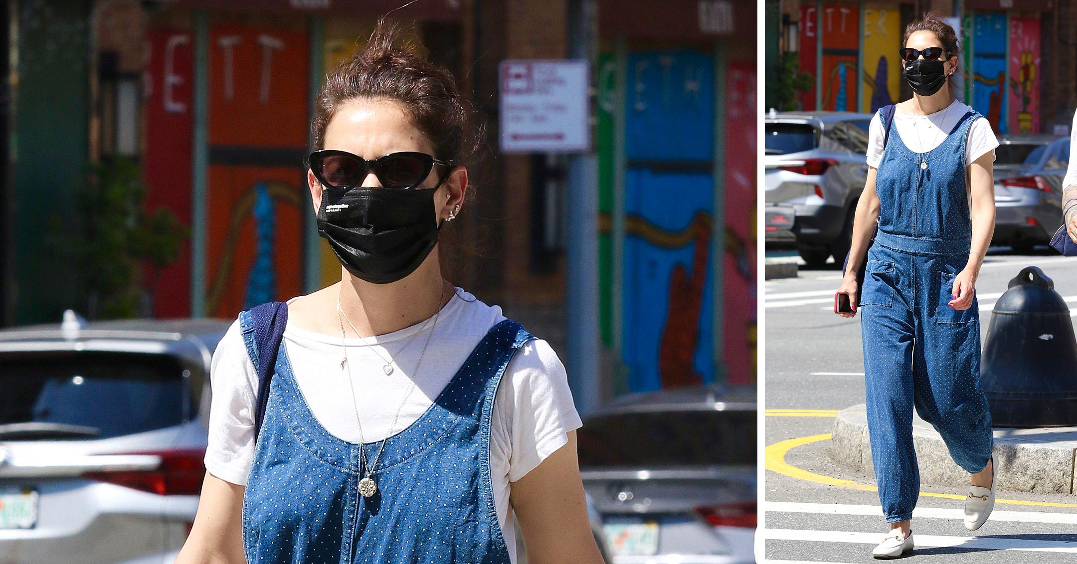 katie holmes steps out in blue overalls in  degree weather in nyc
