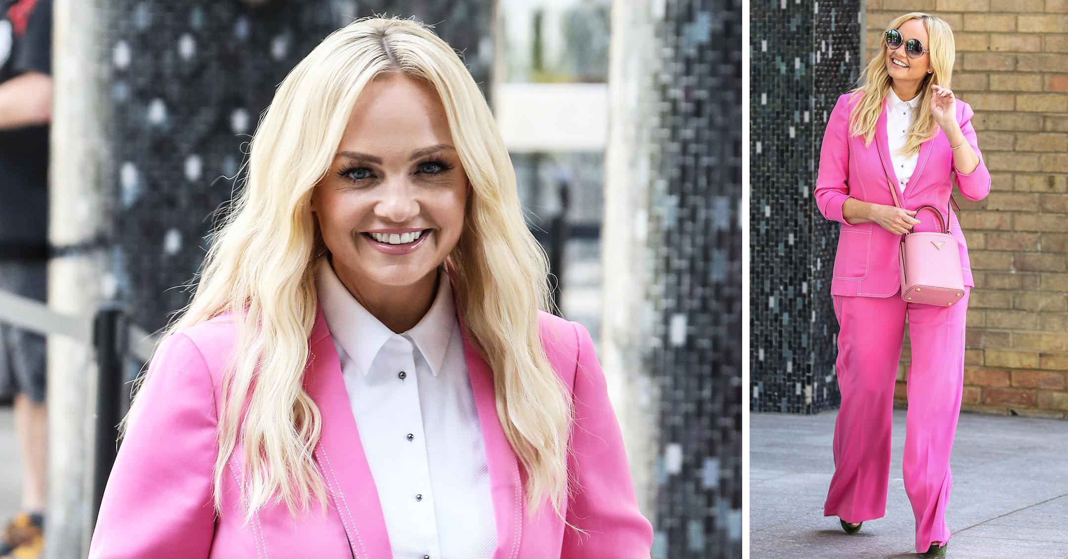 emma bunton at itv studios pink suit