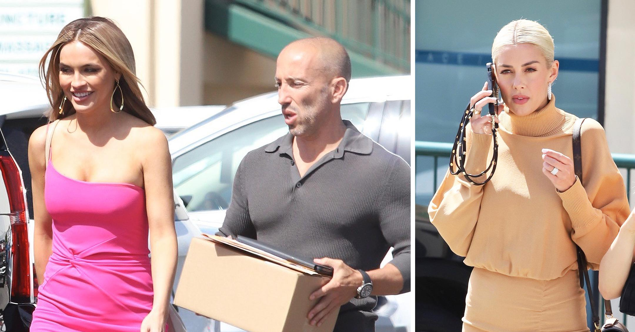 chrishell stause is pretty in pink as she sports new hair cut on the set of season  selling sunset with cast