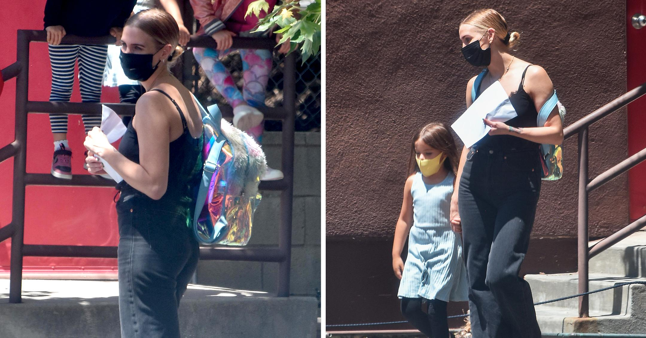 ashlee simpson is seen at the school pick up