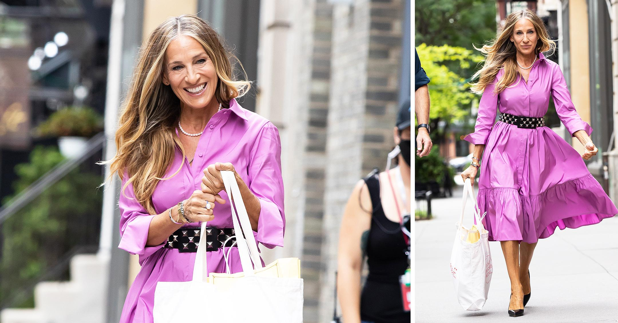 sarah jessica parker heads to set of and just like that